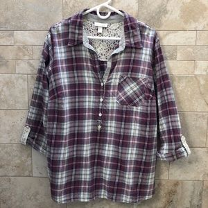Dress Barn Plaid Pull Over Top